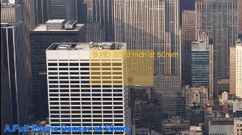 Um sensor Super 16mm (em amarelo) comparado com um Full Frame.